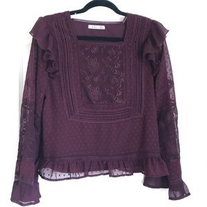 Maroon embroidered ruffled top